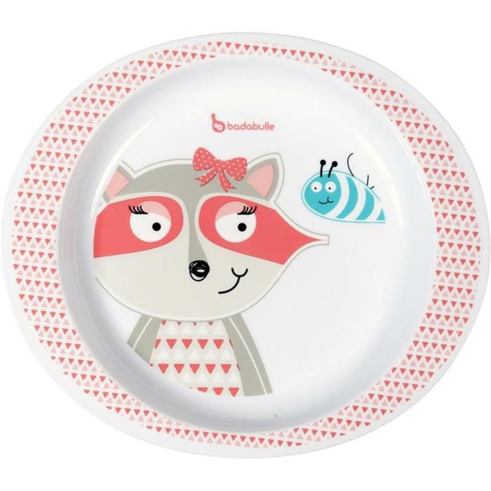 Badabulle – Farfurie pentru mancare Pink Racoon