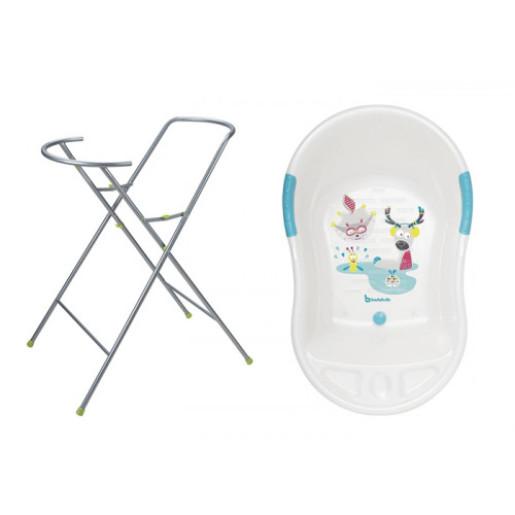 Badabulle - Set cadita ergonomica si suport pentru cadita Fun - White