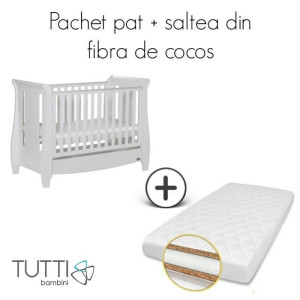Tutti Bambini – Set patut Lucas Alb + salteluta pentru bebelusi