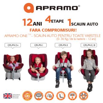 Apramo – Scaun auto Rotativ 4 in 1 ONE Yorkshine Brown, 0-36 kg