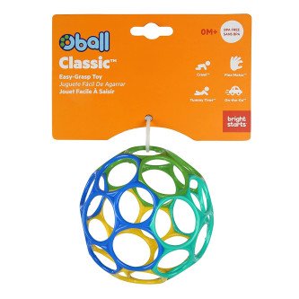 Bright Starts - Minge Oball Classic Easy-Grasp - Albastru / Galben / Verde